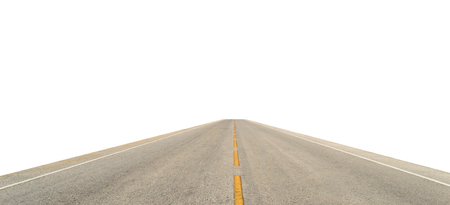 Perspective Asphalt Road isolate on white background. Stok Fotoğraf