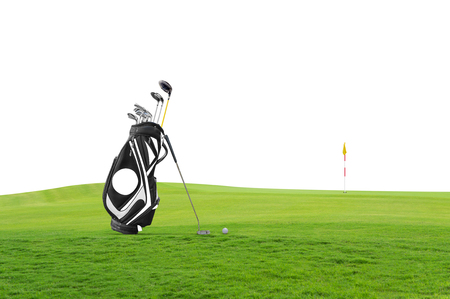Golf equipment and golf bag , putter, ball on green at golf course  isolated on white background.