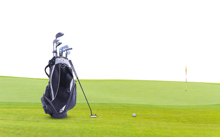Golf equipment and golf bag , putter, ball on green isolated on white background. Stok Fotoğraf