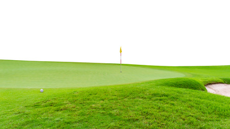 Golf ball on green  flag and golf hole as background isolated on white background. Stok Fotoğraf