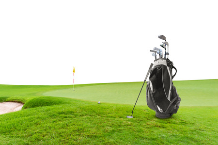 Golf equipment and golf bag , putter, ball on green at golf course isolated on white background. Stok Fotoğraf
