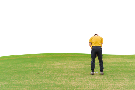 Asian golfer (man) 54 years old Putting golf ball on green  to a hole at golf course isolated on white background Stock Photo
