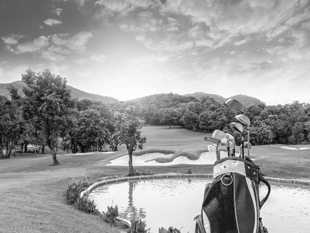 Golf equipment and golf bag on green and golf course as background.black and white