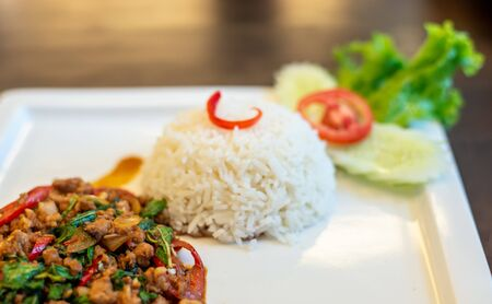Stir Fried Pork Basil,Thai spicy food basil pork fried rice recipe (Krapao Moo). Stok Fotoğraf