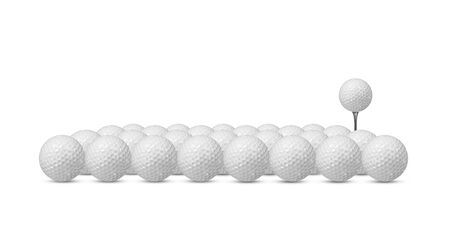 Many golf balls isolated on white background.