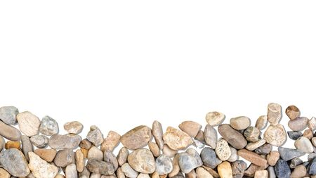 Small stones isolated on white background with space for your design. Stok Fotoğraf
