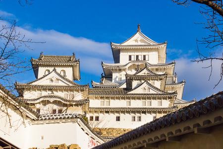 ninja ancient: Samurai Castle of Himeji with Blue Sky, Japan