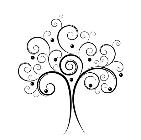black tree: abstract tree Isolated on white color