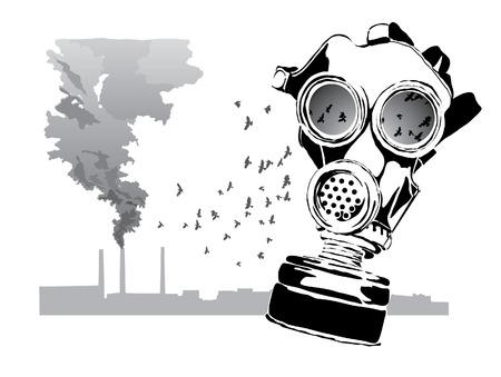 chemical warfare: Gas mask Illustration