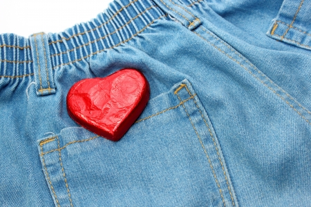 Heart on jean photo