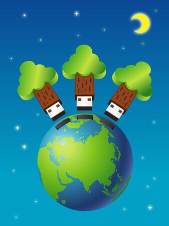 safe world: USB Safe world Illustration
