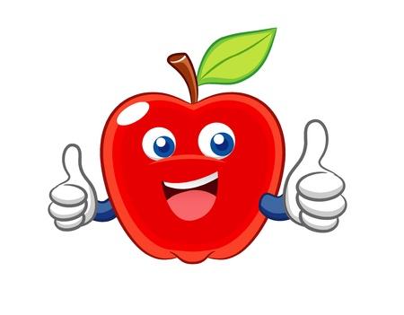 manzana caricatura: Manzana de dibujos animados sonrisa