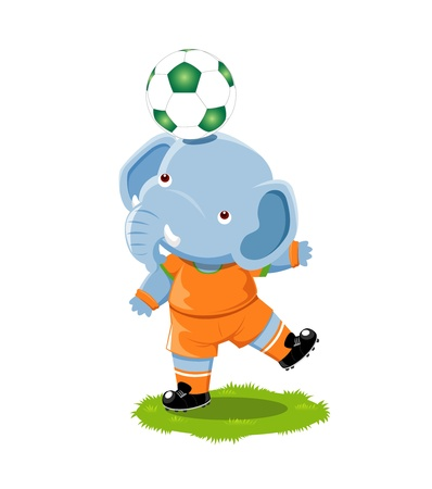 Elephant playing football cartoon Vector