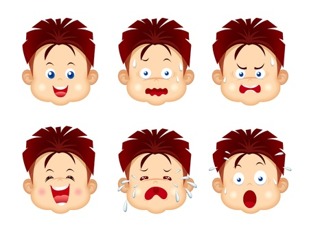 Kids face expressions Vector