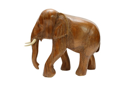 animal figurines: Wooden elephant