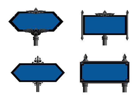 blank road sign: Sign set Illustration