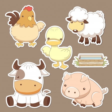 pato caricatura: Animales conjunto agrícola