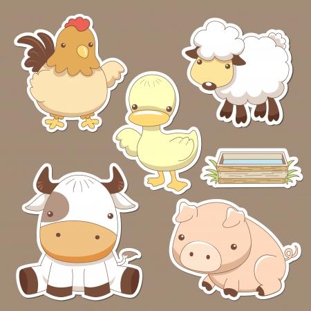dieren: Dieren boerderij set Stock Illustratie