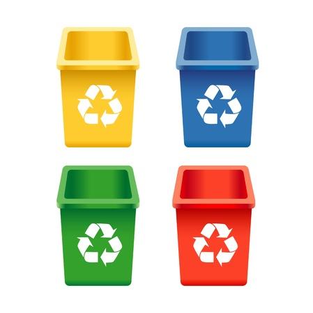 separacion de basura: Papeleras de reciclaje Vectores