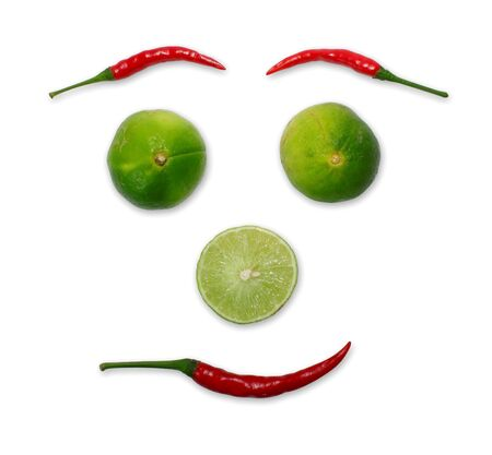 Red chili and limes face form Stock Photo - 14366121