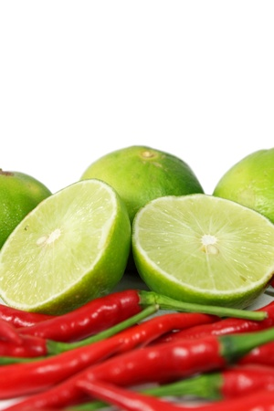 peper: Red chili and limes