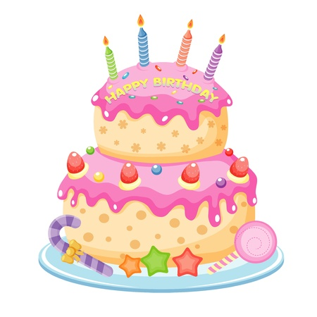 pink cake: Birthday cake Illustration