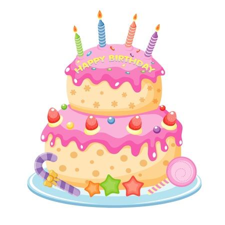 pasteles de cumpleaños: Torta de cumpleaños Vectores