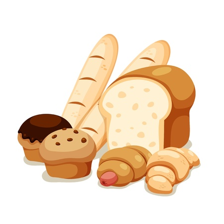 bakery sign: Panes conjunto aislado en blanco