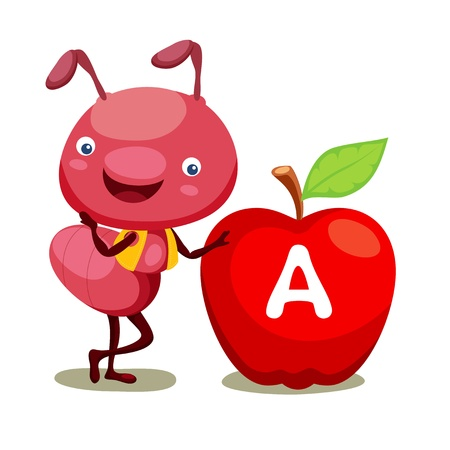 red ant: Ant and apple