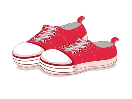 running shoe: Scarpe Sneakers tela Vettoriali