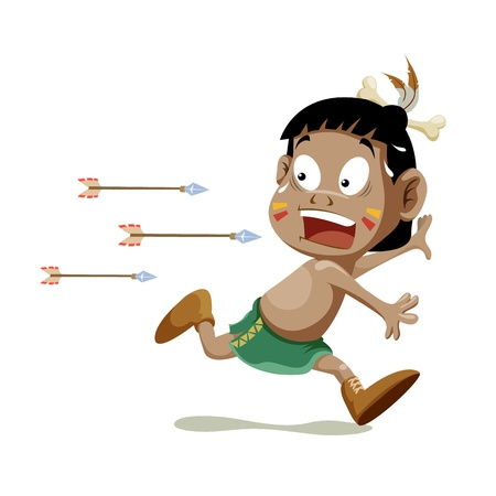 cartoon warrior: Americano ragazzo indiano in esecuzione