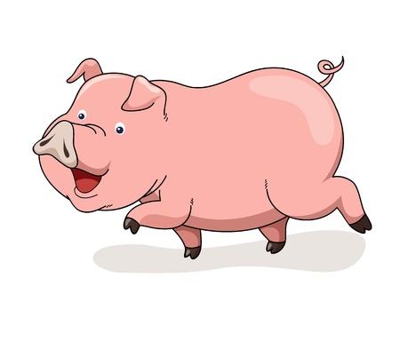 chancho caricatura: Vector de dibujos animados de cerdo Vectores
