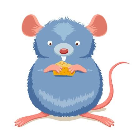 impudent: Rat eating cheese Illustration