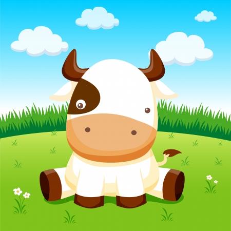 vaca caricatura: Vaca en la granja