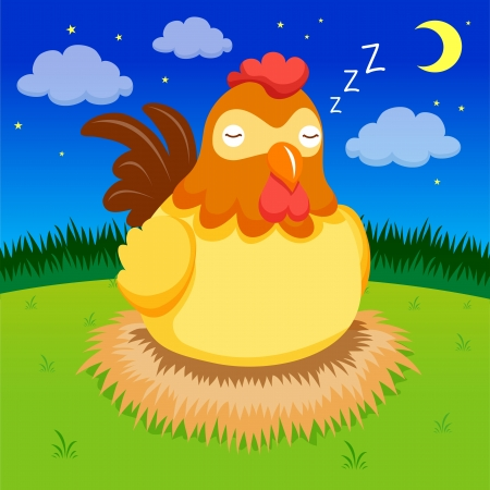 Hen is sleeping on night Vector