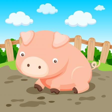 cerdo caricatura: De cerdo en la granja