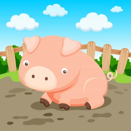 Pig in farm Vector