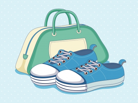 Sneakers and bag Vector