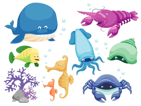 seawater: Vector set of sea
