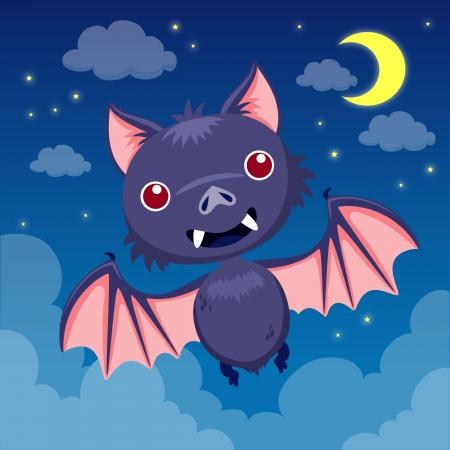 Bat on night sky Vector