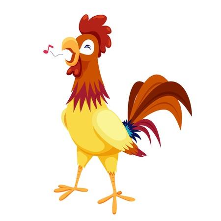 pollo caricatura: Gallo sobre fondo blanco Vectores