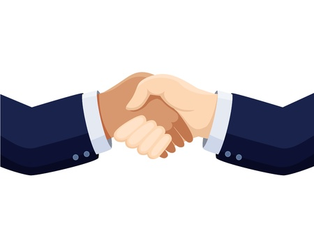 business deal: shaking hands isolated on white Illustration