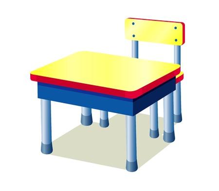 School tafel geïsoleerd op wit Vector Illustratie