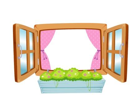 Houten raam op wit wordt geïsoleerd Vector Illustratie
