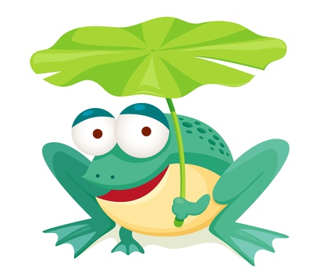 tree frogs: green frog holding leaf isolated on white Illustration