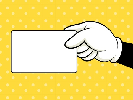 Hand holding card Vector