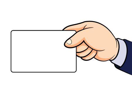 hand holding card: Hand met kaart op wit wordt geïsoleerd