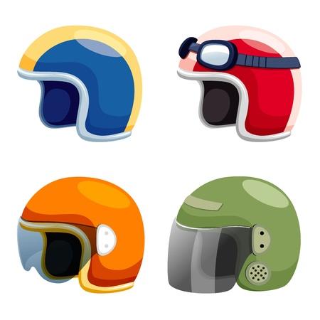 Motorcycle helmet set Vektoros illusztráció