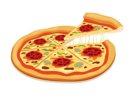 salame: Fatias de pizza isolado no branco