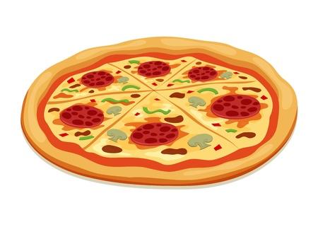 mozzarelle e formaggi: Pizza isolato su bianco